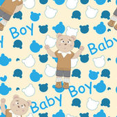 Baby shower seamless pattern with bears — Stock Vector