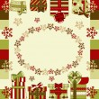 Christmas and New Year greeting card with gifts - Stockvectorbeeld