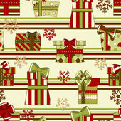 Christmas and New Year seamless pattern with gifts — Stock Vector