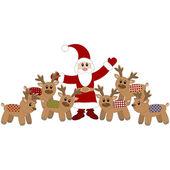 Santa Claus and cute deers. Vector illustration — Stock Vector