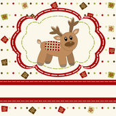 Christmas and Happy New Year Card with cute deer — Stock Vector