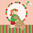 Invitation card with girl caress the dog — Image vectorielle