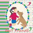 Greeting card with dog kiss the girl — Stock Vector
