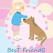 Greeting card with girl caress the dog — Vecteur