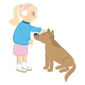 Cute girl caress the dog. Vector illustration — Vecteur