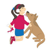 Dog kiss the girl. Vector illustration — Stock Vector