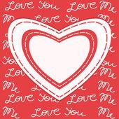 Alla hjärtans dag gratulationskort med hjärta och ram — Stockvektor