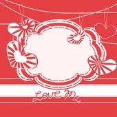 Biglietto di auguri con cuori. motivi di giorno di San Valentino — Vettoriale Stock