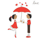 Cute girl and boy under umbrella. Valentine day illustration — Stock vektor