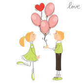 Junge das Mädchen Ballons verleihen. Valentin Tag Abbildung — Stockvektor