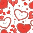 Valentine day background with hearts and balloons. Vector illustration - Vettoriali Stock