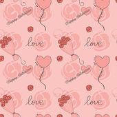 Kalpler ve çiçekler ile sevgililer günü arka plan — Stok Vektör