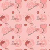 Valentine day background with flowers and hearts — Stock Vector