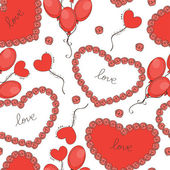 Valentine day background with hearts and balloons. Vector illustration — Vector de stock
