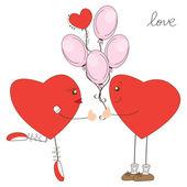 Ragazzo di cuore dare palloni per la ragazza del cuore — Vettoriale Stock