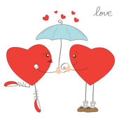 Cute heart girl and heart boy under umbrella — Stock Vector