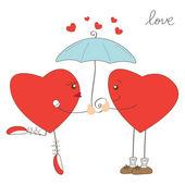 Söta hjärtat tjej- och hjärtat under paraply — Stockvektor