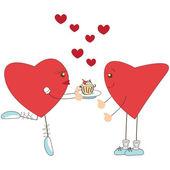 Fille mignonne coeur donner un gâteau à l'enfant de cœur — Vecteur