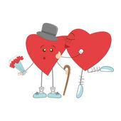 Heart girl kissing surprised heart boy — Stock Vector