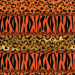 African style seamless with cheetah and tiger skin pattern — Stock Vector