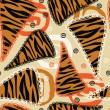 African style seamless with tiger skin pattern — Stock Vector