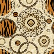 Stock Vector: Africstyle seamless with tiger skin pattern
