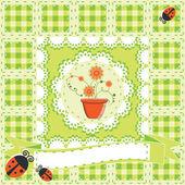 Carte de voeux avec des fleurs en pot — Vecteur