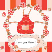Mothers Day greeting with flowers and apron — Stock Vector
