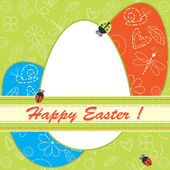 Easter greeting card with eggs and ladybirds — Vector de stock