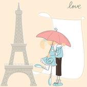 Dívku políbit chlapce pod deštníkem v paříži — Stock vektor