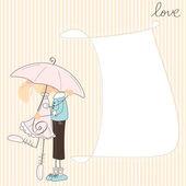 Meisje kus jongen onder paraplu — Stockvector