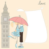 Girl kiss boy under umbrella in London — Stock Vector