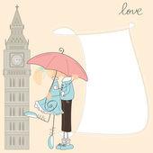 女孩亲男孩在伦敦的保护伞下 — 图库矢量图片