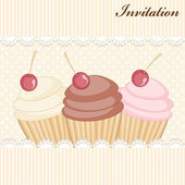 Carte d'invitation Cupcake — Vecteur
