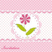 Invitation card with cute flower — Stock Vector