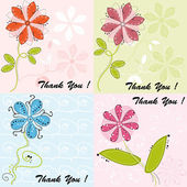 Set of four greeting cards with cute flowers — Stock Vector