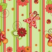 Flower and butterflies pattern seamless background — Stock Vector