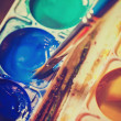 Old watercolor paints in a box — Stock Photo