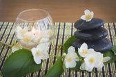 Spa stones and jasmine — Stock Photo