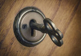 Old key in the lock — Stock Photo