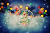 Christmas background with transparent ball — Foto de Stock