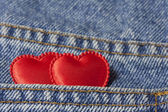 Two hearts in the jeans pocket — Foto Stock