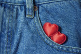 Two hearts in the jeans pocket — Stock Photo