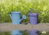 Blue watering can, bucket purple — Zdjęcie stockowe