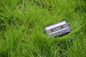 Audio cassette in the grass — Stock Photo
