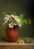 Still life with a bouquet of daisies — Stock Photo