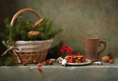 Christmas still life with ginger biscuits — Stockfoto