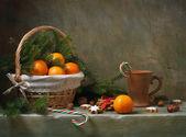 Natal natureza morta com tangerinas — Fotografia Stock