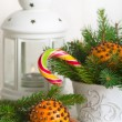 Christmas still life with tangerine — Stock Photo