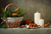 Christmas still life with ginger biscuits — Stock Photo